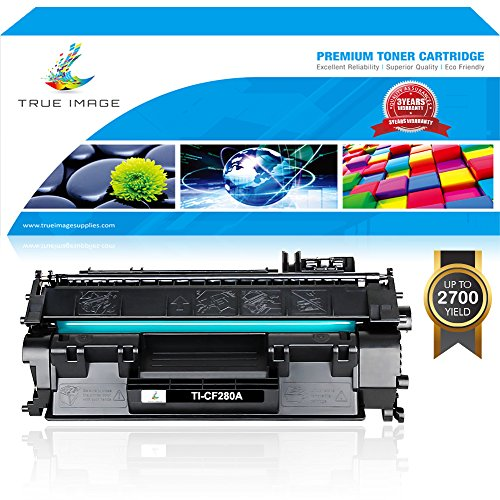TRUE IMAGE 1 Pack Compatible for HP CF280A 80A Black Toner Cartridge Replacement for HP LaserJet Pro 400 M401dne, HP Pro 400 M401n HP Pro 400 M401dw, HP Pro 400 MFP M425dn Series Printers