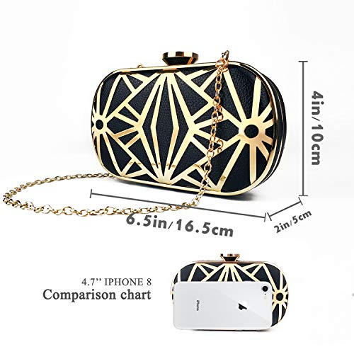 Party Womens Packed Clutch Box Black gold Evening Exquisite Metal Clutch in Handbag Bag Wedding Bag Purse Gift Ladies S0SwrqWg