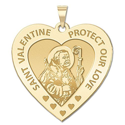 Solid 14K White Gold 1 Inch X 1 Inch PicturesOnGold.com Saint Valentine Heart Shaped Religious Medal
