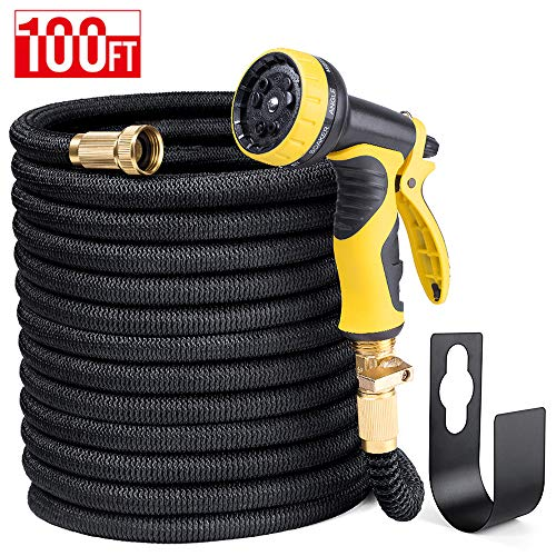 HOUSE DAY 100FT Black Expandable Garden Water Hose,3/4″ Solid Brass Fittings,Heavy Duty Expanding Garden Hose,9-Function Spray Nozzle,Metal Hose Holder