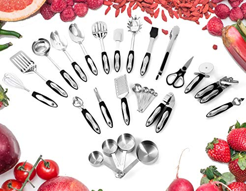 Utensils Set - 26-Piece Complete Stainless Steel Cooking Kitchen Tools Set, Cookware Set, Kitchen Gadgets - Utensilios de Cocinas ()