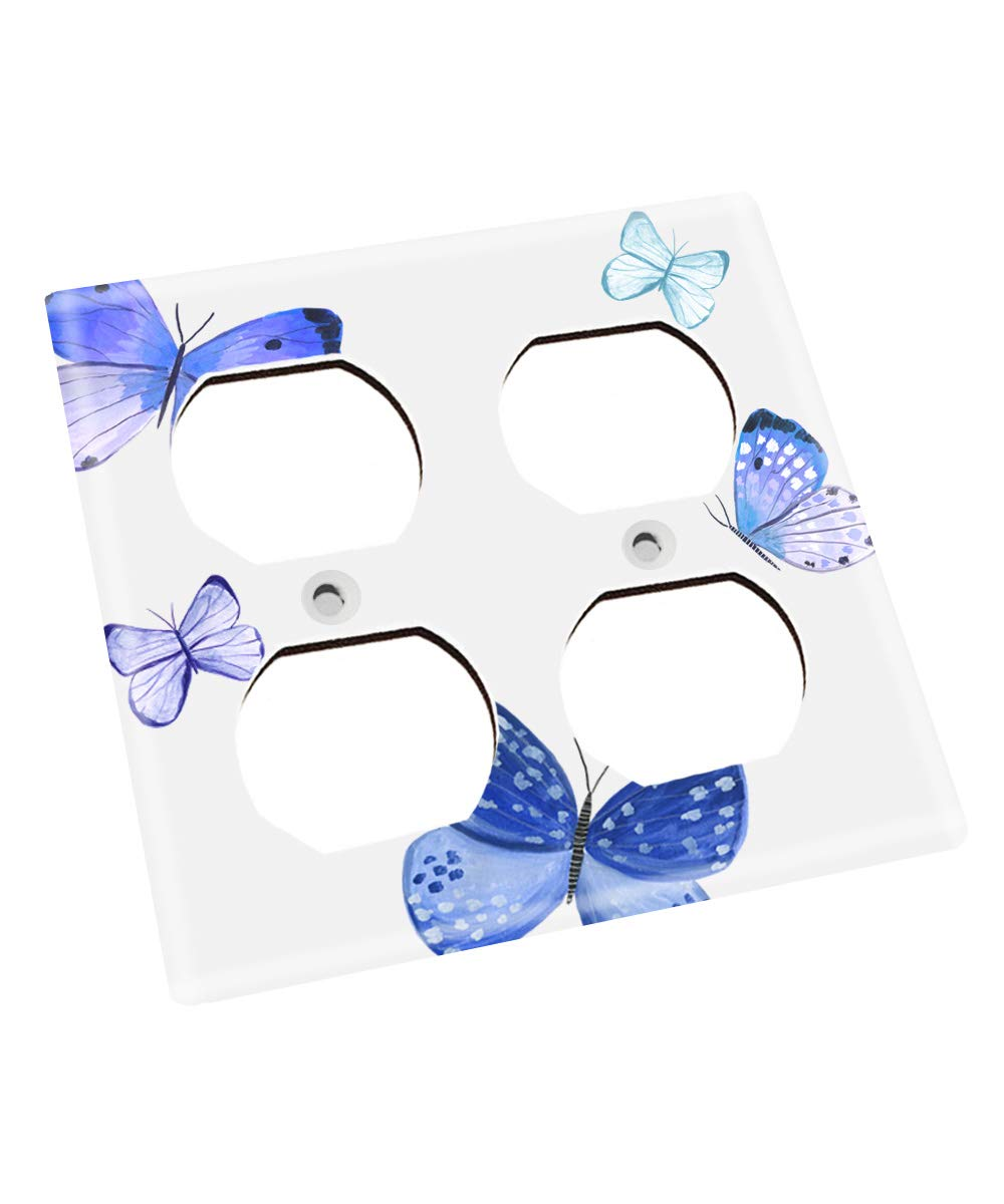 Blue Butterflies Nursery Bedroom Light Switch Cover LS0119 (Double Outlet) by Toad and Lily