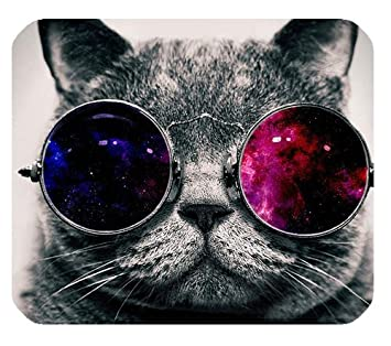 Cool Cat With Glasses Wallpaper Customized Rectangle Non Slip Rubber Mousepad