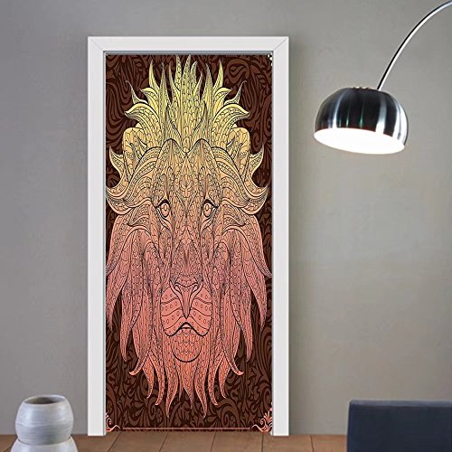 Gzhihine custom made 3d door stickers Safari Decor Illustration of Charismatic Tiger Territorial Predator Power with Unique Patterns Decor Grey Black White For Room Decor 30x79 by Gzhihine (Image #6)