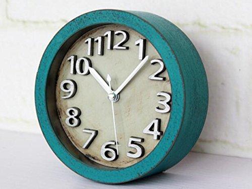 Usany 5 inch Vintage Wood Pattern Analog Table Clock Arabic numbers Silent Non-ticking Quartz Desk Clock Alarm Clock Round Desk Clocks 3D Clock (Green) by Usany (Image #1)
