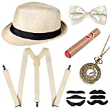 sinoeem 1920s Mens Gatsby Gangster Costume Accessories Set with Pocket Watch,Hard Felt Panama Hat, Y-Back Suspenders & Pre Tied Bow Tie,Toy Cigar & Fake Mustache, Beige-01, 15