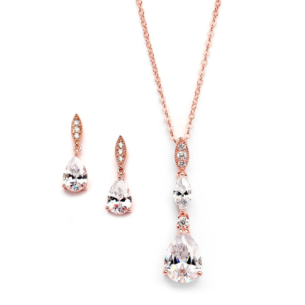 Mariell 14K Rose Gold Plated Teardrop CZ Wedding Necklace and Earrings Set for Bridal or Bridesmaids by Mariell