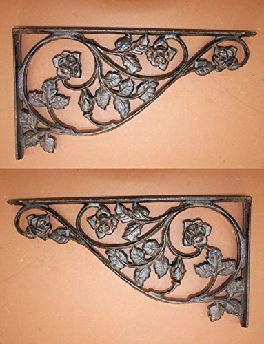 (Southern Metal Set of 2 Extra Large Cast Iron Shelf Brackets Corbels 16 7/8