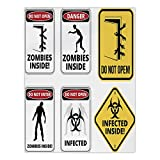 iPrint Satin Rectangular Tablecloth [ Zombie Decor,Warning Signs for Evil Creatures Paranormal Construction Do Not Open Artwork,Multicolor ] Dining Room Kitchen Table Cloth Cover