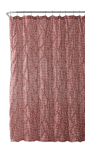 VCNY Home Fabric Shower Curtain: Farmhouse Gingham with Pintuck Design (Dusty Rose and White)