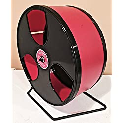 "HEDGEHOG/CHINCHILLA EXERCISE WIDE TRACK 12"" WODENT WHEEL IN RED WITH BLACK PANELS"