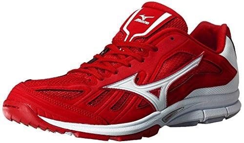 White Turf Baseball Shoes (Mizuno Men's Players Trainer Turf Shoe, Red/White, 12 M US)
