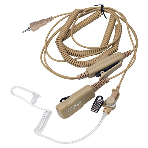 Beige Coodio Superior Surveillance Earpiece Security Headset [Double PTT] Bodyguard FBI [Covert Acoustic Tube] Mic Microphone For Cobra MR Handheld VHF Two-Way Marine Radio