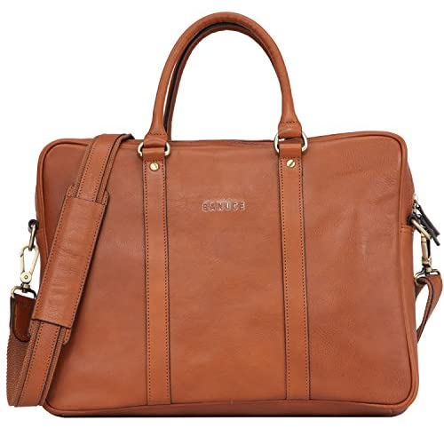 Banuce Vintage Leather Tote Briefcase for Men Business Messenger 14 inch Laptop Bag for cheap