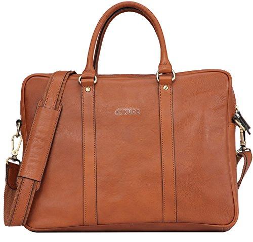 Banuce Vintage Leather Tote Briefcase for Men Business Messenger 14 inch Laptop Bag by Banuce