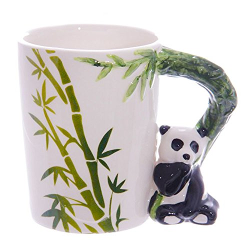 offee Mugs, Animal handle Ceramic Tumbler Friendly Porcelain Cup Hand painted Animal Novelty Gift Cup (14oz) (Panda) ()