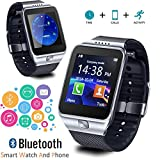 Indigi SW-SWAP-09 2-in-1 Gear Smartwatch & Phone + Bluetooth Sync + Optional SIM + SMS Notify (Android or iOS Compatible) - Silver