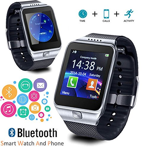 in-1 Gear Smartwatch & Phone + Bluetooth Sync + Optional SIM + SMS Notify (Android or iOS Compatible) - Silver ()