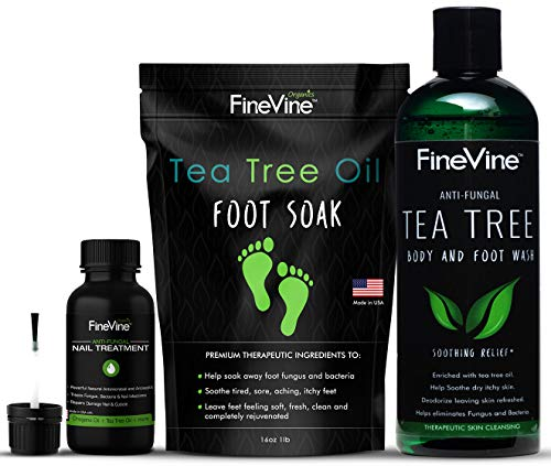 Toenail Fungus Treatment Kit, Made in USA, Includes Tea Tree Body Wash, Tea Tree Oil Foot Soak and Tea Tree Oil for Toenail Fungus, Helps Get Rid of Odor, Fungus and Athlete's Foot for Clean and Fresh