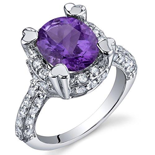 Royal Splendor 2.25 Carats Amethyst Ring in Sterling Silver Rhodium Nickel Finish Sizes 5 to 9