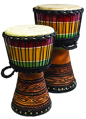 New Djembe Master Mali Style Rasta carv, 20'' tall, 11'' head by Terre