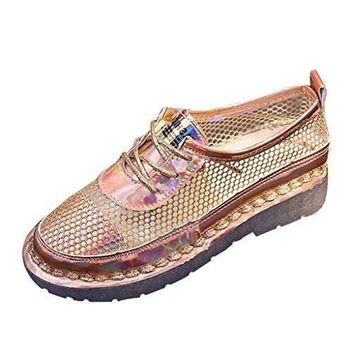 Benficial Women's Summer Casual Fashion Mesh Openwork Lace Platform Casual Shoes Gold
