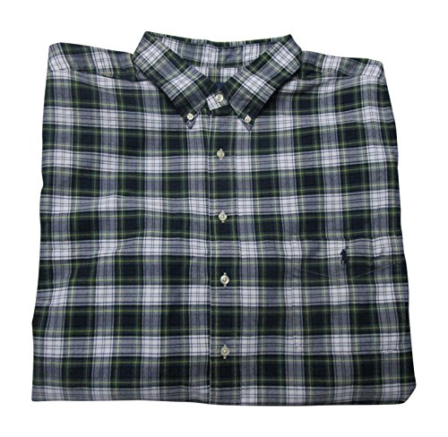 Polo Ralph Lauren Mens' Big and Tall Oxford Shirt Long Sleeve Iconic Plaid (Smoke/Hunter Green, 4XLT)