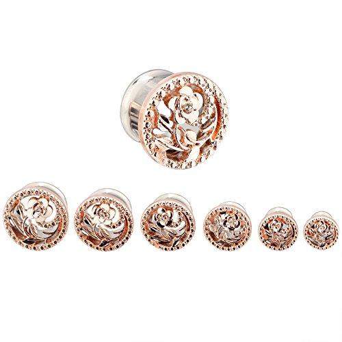 PHD LTD Stainless Steel Gold Diamond Rose Double Flared Flesh Ear Tunnels Plugs Stretcher Expander Kit Gauge 0g by PHD LTD (Image #4)