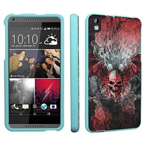 HTC Desire 816 Case, DuroCase Hard Case Mint for HTC Desire 816 Virgin Mobile (Released in 2014) - (Skull Wings Red)