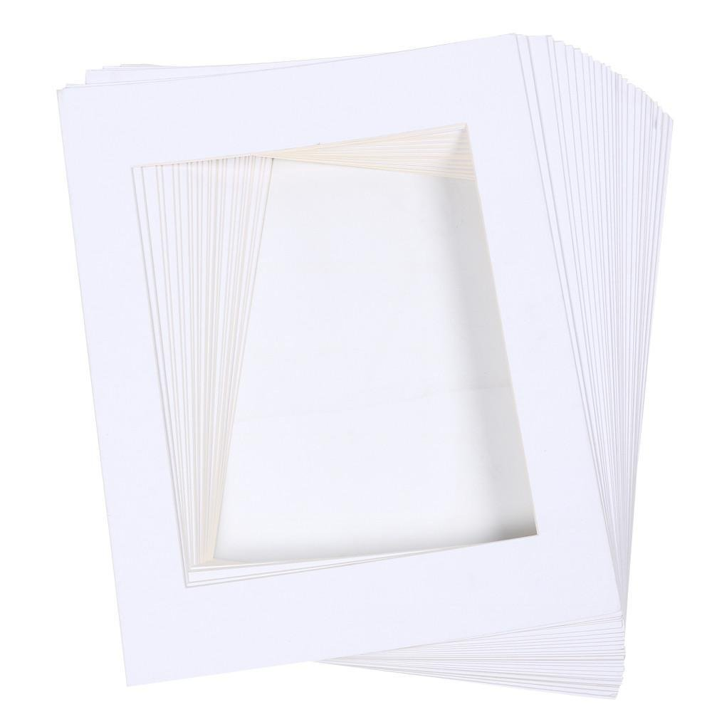 go2buy Pack of 25 11x14'' White Picture Photo Matting Mats Board with Core Bevel Cut for 8x10'' Art (only 25 pcs White mat Board)