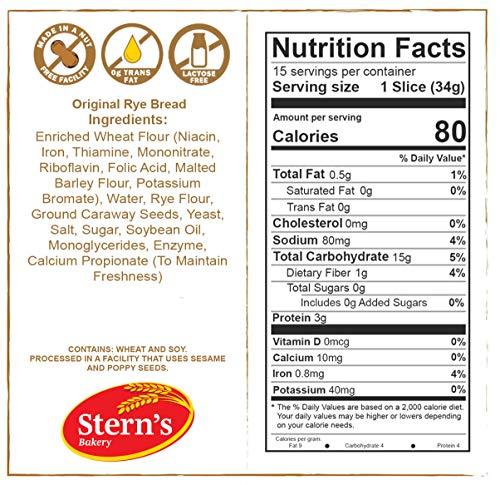 Rye Bread | Delicious Sandwich Bread | Fresh Bread | Real Jewish Rye Bread | Kosher, Dairy & Nut Free | 2-3 Day Shipping | 16 oz. Stern's Bakery [ 2 Pack ]