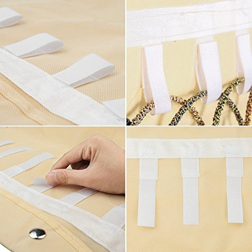 Thipoten Hanging Jewelry Organizer, Non-Woven 40 Pockets and 20 Magic Tape Hooks Accessory Holder (White) by Thipoten (Image #3)