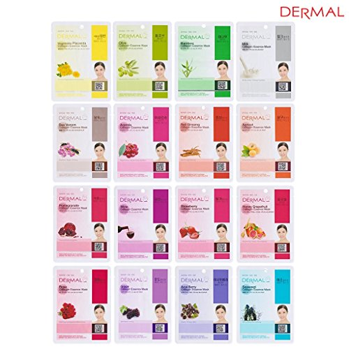 Dermal Korea Collagen Essence Full Face Facial Mask Sheet (16 Combo Pack)