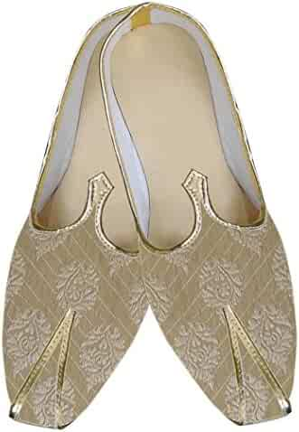INMONARCH Mens Sherwani Shoes Golden Indian Wedding Shoes Partywear MJ0157