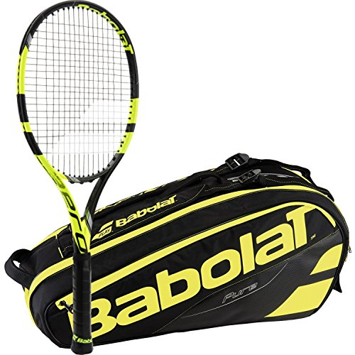 Babolat Pure Aero VS Yellow/Black Adult Tennis Racquet (Grip Size 4 3/8) with a Yellow/Black Pure Line Racket Holder x6 ()
