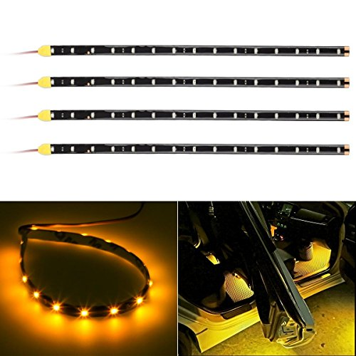 Partsam 4x 15SMD String Flexible Strip Light 30CM Amber For Car Motorcycles (2006 Ford Explorer Exterior Parts compare prices)