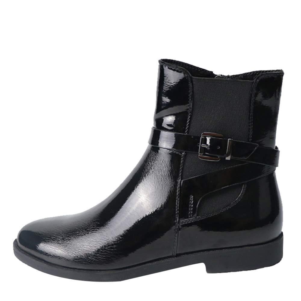 Miss Li Damen Leder Stiefeletten Winter Plüsch Warme Einfache Müßiggänger Wohnungen Sport Outdoor Schuhe