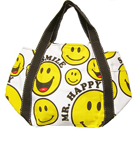 Small yellow retro bag white canvas boho and black SMILEY rBnTZr4