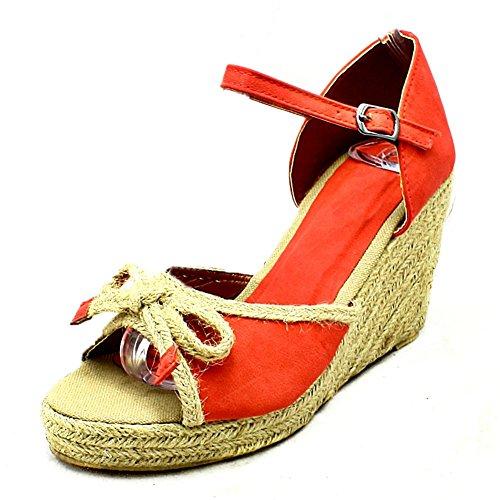 SendIt4Me Damas Sandalias de Cuña Peep Toe Mimbre de La Lona Coral