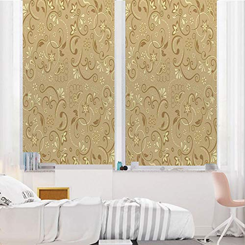 Beige 3D No Glue Static Decorative Privacy Window Films, Swirling Flowers Vintage - Bathroom Cabinets And Edwardian Mirrors