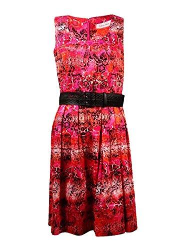 (Calvin Klein Women's Snake Print Belted Sundress (4, Hibiscus Multi))