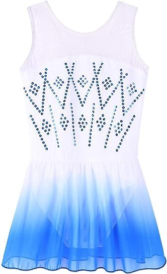 ZNYUNE Girls Snowflake Skirted Ballet Dance Leotard Tutu Dress for Kids 3-12 Years