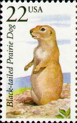 US 1987 22-Cent Black-Tailed Prairie Dog Postage Stamp, Catalog No 2325 - Postage Dog Stamp