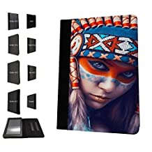 1549 - Cool Fun Trendy red indian colourful headrest sexy girl Design Amazon Kindle Fire HDX 7'' 4th Generation 2014-2016 Fashion Trend TPU Leather Flip Case Protective Purse Pouch Book Style Defender Stand Cover