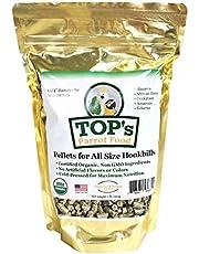 TOP's Parrot Food Pellets Hookbills, Small, Medium, Large Birds - Non-GMO, Peanut Soy & Corn Free, USDA Organic Certified - 1 lb / 453 g
