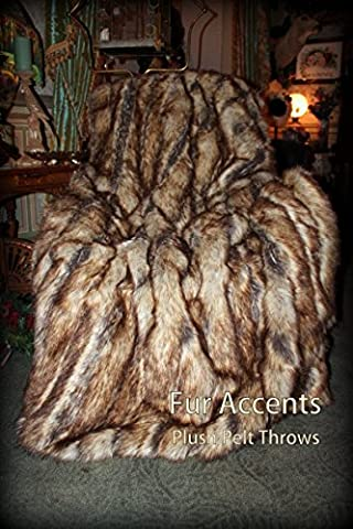 Sumptuous Luxury Faux Fur Throw Blanket - Designer Quality - Fur Accents - Made in America (40''x58'', Brown Ribbed (Fox Fur Rug)