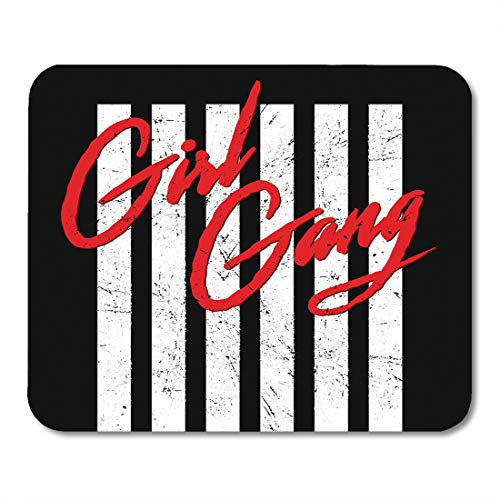 Emvency Mouse Pads Red Band Girl Gang Slogan Rock and Roll Gothic Stripe Apparels Vintage Graphic Mousepad 9.5