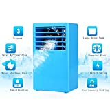 Portable Air Conditioner Madoats Small Desktop Fan Quiet Personal Table Fan Mini Evaporative Air Circulator Cooler Refrigeration Humidifier,Blue