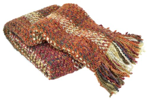 Kennebunk Home Ombre Luxurious Woven Throw, Russet (Kennebunk Blanket Polyester)