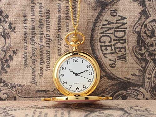Golden Magic Sakura Pendant Pocket Watch For Girls Classic Anime Necklace Clock Gifts For Students Woman Gift Watch Watches